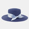 Women Travel Vacation Beach Hat Jazz Straw Hat Sun Protection Sun Hat - Navy