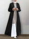 Casual Solid Color Long Sleeve Plus Size Cardigan for Women - Black