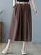 Solid Side Pocket Culottes Pants with Belt - Coffee