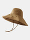 Women Cotton And Linen Solid Color Big Brim Sun Protection Bucket Hat - Caramel Color 2#