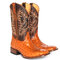 Women Large Size Slip-On Ethnic Pattern Dot Mid-calf Cowboy Boots - Yellow