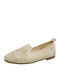 Women Solid Mesh Hollow Out Stitching Shoes Comfy Soft Rhinestone Flats - Beige