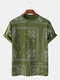 100% Cotton Ethnic Totem Square Printed Casual Home Round Neck T-shirt - Green