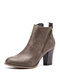 Plus Size Women Solid Side Zipper Chunky Heel Ankle Boots - Gray