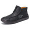 Men Microfiber Leather Hand Stitching Soft Front Zipper  Ankle Boots - Black