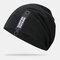 Cappello lavorato a maglia con doppio berretto in cotone solido casual da donna in cotone caldo all'aperto - Nero