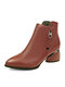 Women Casual Pointed Toe Solid Color Side-zip Chunky Heel Ankle Boots - Brown