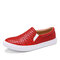 LOSTISY Women Casual Veins Slip On Flat Loafers - Red