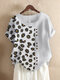 Daisy Floral Print Patchwork Short Sleeve T-shirt For Women - White