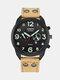 Fashion Leather Band Watches Mens Calendar Army Sports Quartz Watch - Khaki