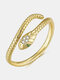 Vintage Open Alloy Copper Zicon Animal-shape Snake Ring - Gold