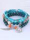 Vintage Multicolor Beads Multi-layer Bracelet Temperament Wing Pendant Bracelet - Green