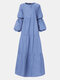 Solid Color Patchwork Long Sleeve Casual Dress For Women - Blue