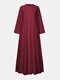 Solid Color Plain Slit Button Long Sleeve Casual Dress for Women - Wine Red