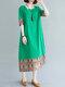 エスニックカラーコントラストプリントPlusサイズのポケット付きドレス - 緑