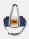 Vintage Nylon Letter Front Large Capacity  Handbag Crossbody Bag - Blue