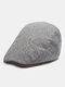 メンズウールピンストライプコントラストカラーハットつばオールマッチ暖かさベレー帽フラットキャップ - カーキ