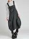 vendimia Correas sueltas de color sólido Vestido con bolsillos - Gris oscuro