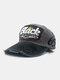 ユニセックスウォッシュドコットンパッチワーク破損文字番号刺繡ファッション野球帽 - グレー