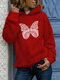 Butterfly Print Casual Pocket Plus Size Hoodie - Red