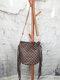 Tassel Decor Faux Fur Sun Flower Exquisite Print Pattern Lattice Bucket Bag Shoulder Bag - 3