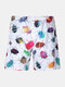 Men Funny Insect Print Board Shorts Mesh Liner Briefs Quick Drying Beach Swim Trunks - White