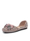 Casual Bow Rhinestone Square-toe Open Side Women's Ballet Flats - Pink