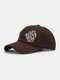 Unisex Cotton Broken Hole Letters Embroidery All-match Sunshade Baseball Cap - Coffee