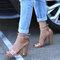 Women Solid Color Chunky Heels Bukcle Sandals - Beige