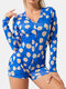 Plus Size Women All Over Printing V-Neck Button Up Long Sleeve Onesies Pajamas - Blue