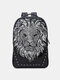 Men Lion Head Print Travel 14 Inch Laptop Bag Backpack - Silver
