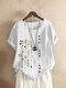 Blumendruck-Kurzarm-T-Shirt mit O-Ausschnitt - Weiß