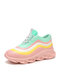 Women Plus Size Candy-colored Casual Comfy Non Slip Soft Platform Sneakers - Pink
