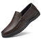 Men Pure Color Genuine leather Breathable Slip On Casaul Driving Shoes - Coffee