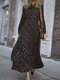 Floral Printed Bowknot Side Invisibled Zipper Long Sleeve Casual Dress - Black