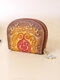 Women Genuine Leather Embossed Cow Leather Multi-card Slots Coin Purse Wallet - Brown