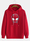 Mens Reflective Alien Print Casual Drawstring Pullover Hoodie - Red