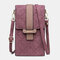 Women Anti-theft Argyle 6.3 Inch Phone Bag Crossbody Bag - Wine Red