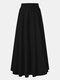 Jupe longue décontractée à taille élastique plissée de couleur unie pour femmes - Noir