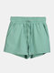 Women Pure Cotton Linen Drawstring Shorts With Pockets Breathable Outdoors Home Loungewear Bottoms - Green