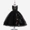 Girl's Floral Embroidered Gauze Princess Casual Dress for 6-13Y - Black