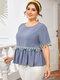 Solid Color Tassel Short Sleeve Plus Size Ruffle Blouse - Blue