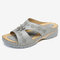 LOSTISY Women Hollow Out Comfy Wearable Wedges Slippers - Gray