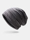 Women & Men Striped Warm Outdoor Solid Color Casual Personality Brimless Beanie Hat - Dark Gray