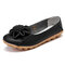 Women Flower Stitching Round Toe Slip On Comfort Casual Flats Loafers - Black