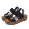 LOSTISY Women Casual Triple Strap Slingback Platform Sandals - Black