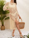 Women Hollow Sexy Knitted Long Sleeve Split Hem Sun Protection Cover Up - Apricot
