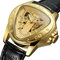 Leisure Business Men Watch Triangle Dial Leather Band Waterproof Mechanical Watch - Gold
