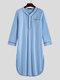 Long Sleeve Henley Shirt Design Chest Pokcets Sleepwear Loungewear Robe for Men - Blue