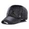 Men Winter Warm Velvet Leather Hat Keep Ear Warm Vintage Outdoor Sports Snow Baseball Cap - Gray